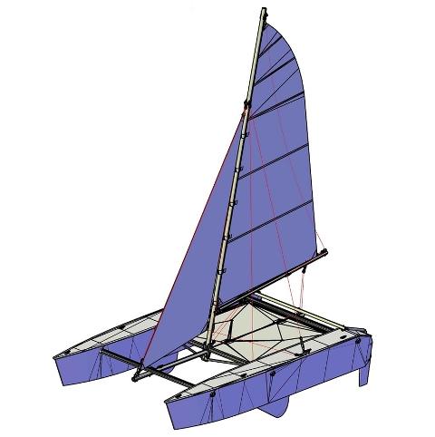 Bản thiết kế thuyền buồm thể thao 2 thân catamaran do Cty Việt Séc thực hiện.