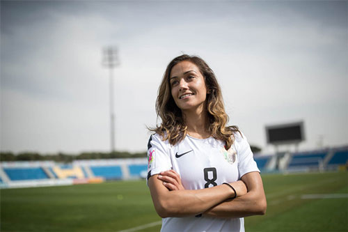 Stephanie Al-Naber: 33 tuổi, tiền vệ ĐT Jordan. Ảnh: Ngoisao.net.