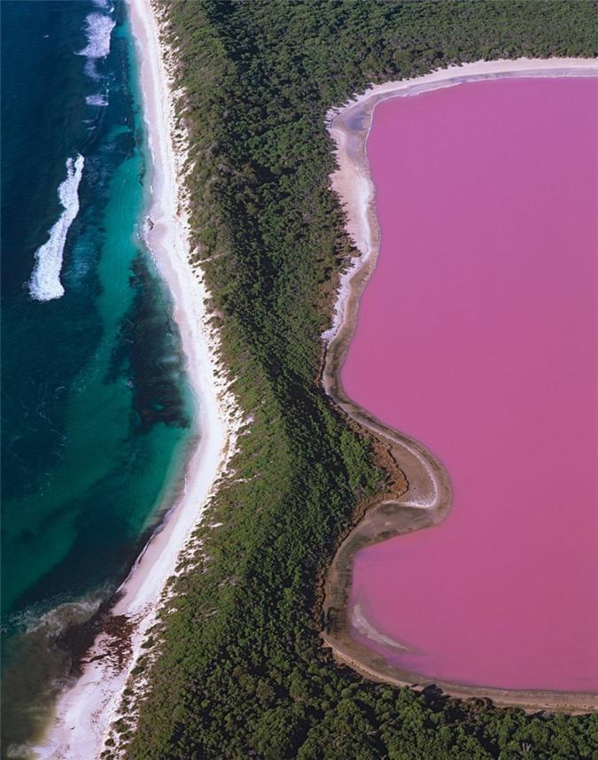 Hình ảnh chụp từ trên cao Hồ Hillier ở Đảo Middle, Tây Australia.