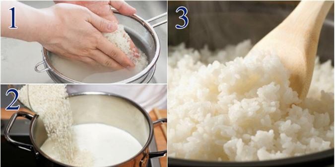Vo gạo xong thêm chút dầu nă hoặc mỡ món cơm ngon hơn