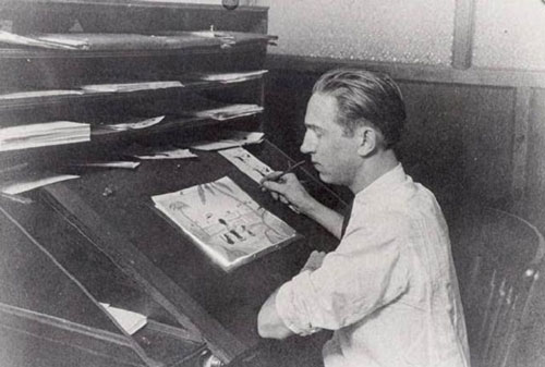 Sau đó, ông làm việc tại một công ty quảng cáo phim ở thành phố Kansas, Missouri và thành lập xưởng phim hoạt hình đầu tiên của mình mang tên Smile-O-Grams nhưng không thành công. Walt Disney quyết định chuyển đến Hollywood. Năm 1923, ông cùng với anh trai Roy O. Disney sáng lập xưởng phim hoạt hình Disney Brothers Cartoon Studio (sau này là Walt Disney Studio). Walt phụ trách việc sáng tạo của công ty trong khi Roy điều hành bộ phận kinh doanh. Ảnh: Waltinkc