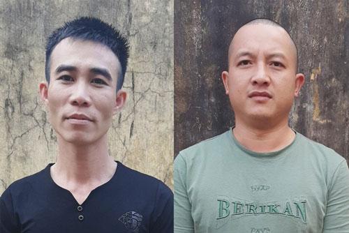 Hai đối tượng Bùi Văn Hào và Trần Đình Phong tại cơ quan điều tra.