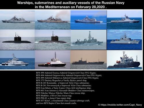 Thống kê các tàu hải quân Nga đang hiện diện ngoài khơi Syria vào ngày 28/2. Ảnh: Avia.pro.