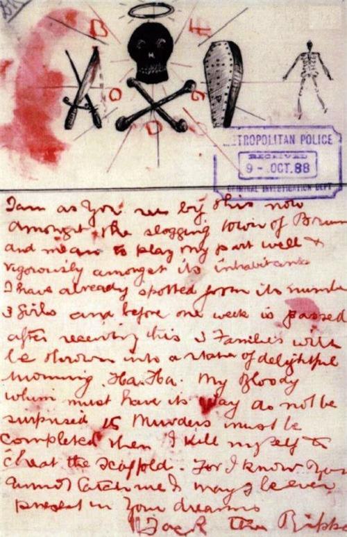 Bức thư thách thức viết bằng máu mà Jack Đồ tể gửi cho cảnh sát.