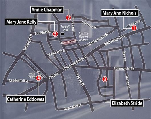 Vị trí 5 nạn nhân nữ đầu tiên bị Jack Đồ tể sát hại.