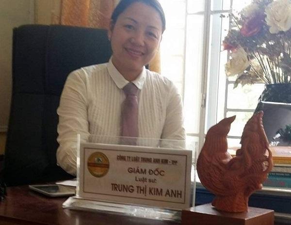 Luật sư Trung Thị Kim Anh, Giám đốc Công ty Luật Trung Anh Kim.