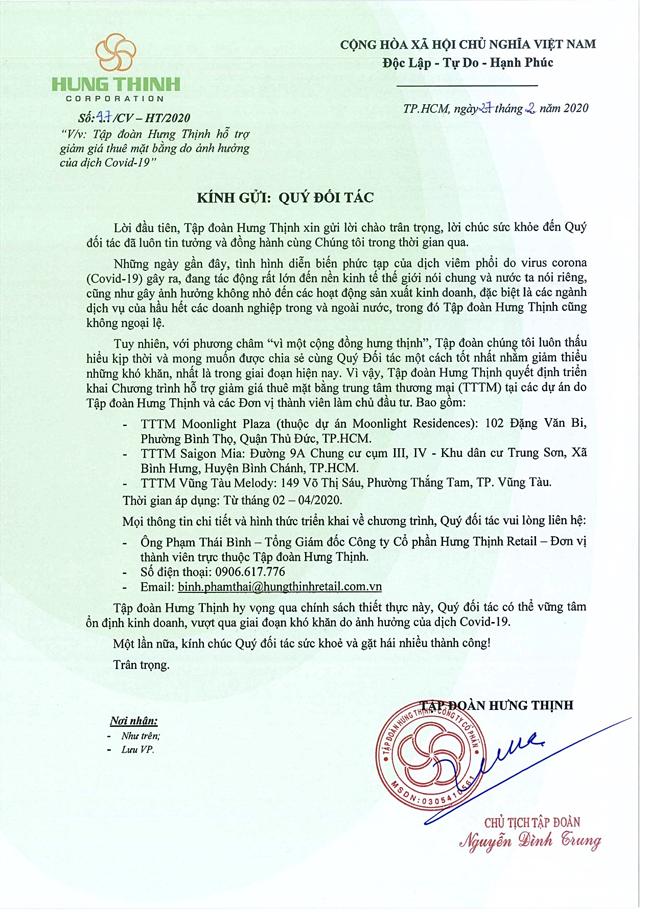 Văn bản của Tập đoàn Hưng Thịnh giảm giá thuê mặt bằng cho đối tác, khách hàng