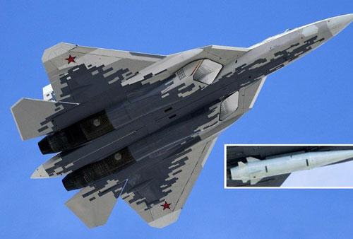 Tiêm kích Su-57 và tên lửa Kinzhal, một loại vũ khí siêu thanh của Nga