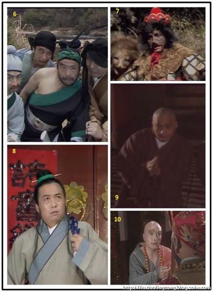 Các vai diễn trong Tây Du Ký của Hạng Hán (đánh số từ 6 - 10).