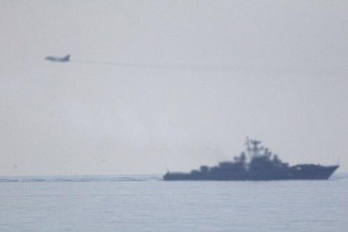 Hải quân Nga bị cáo buộc đã phóng tên lửa chống hạm bay ngay sát tàu chiến Mỹ. Ảnh: TASS.