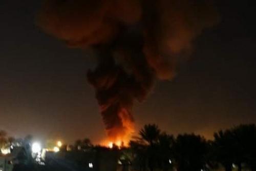 Hiện trường vụ tấn công của tiêm kích MiG-23 vào căn cứ không quân Mitig. Ảnh: Al Masdar News.