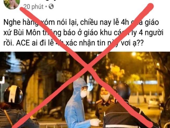 TP.HCM cũng bác tin đồn 4 người bị cách ly ở giáo xứ Bùi Môn.