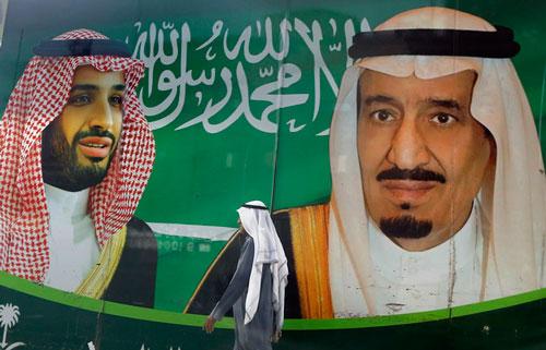 Hình ảnh vua Saudi King Salman và thái tử Mohammad bin Salman. Ảnh: AP.