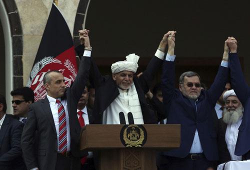 Tổng thống Ashraf Ghani trong lễ tuyên thệ nhậm chức. Ảnh: AP.