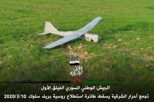 Máy bay không người lái Orlan-10 của Nga bị rơi tại vùng phiến quân kiểm soát. Ảnh: Al Masdar News.