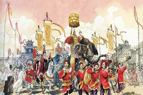 Tranh minh họa lễ đăng cơ của hoàng đế ngày xưa.