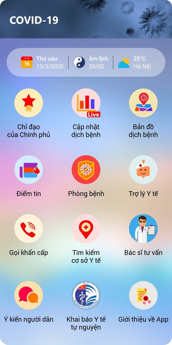 Cục Công nghệ thông tin - Bộ Y tế chính thức ra mắt app COVID-19 thông tin về dịch bệnh COVID-19 trên nền tảng của hai hệ điều hành điện thoại là Android và iOS.