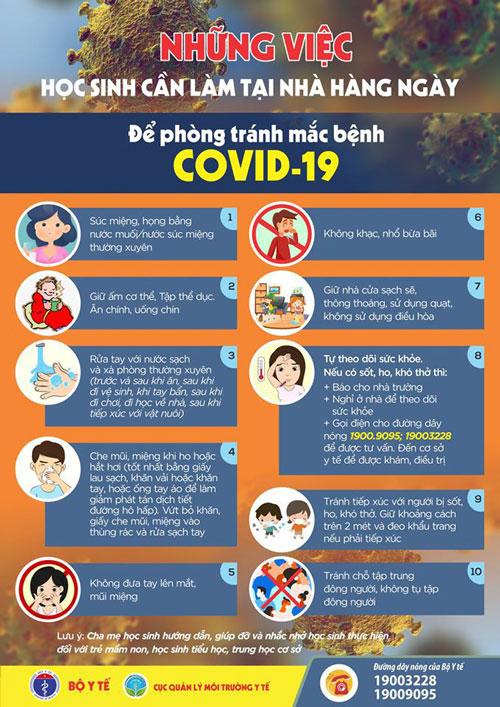 Những việc học sinh cần làm tại nhà để tự bảo vệ trước dịch Covid-19
