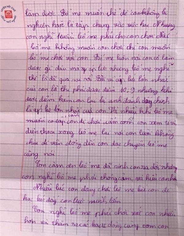 Cậu bé lớp 4 viết tâm thư