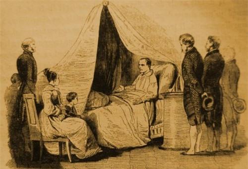 Hình ảnh Napoleon trên giường bệnh được thể hiện lại qua tranh vẽ.