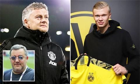 """HLV Ole Solskjaer (ảnh trái) nên mừng khi """"siêu cò"""" Mino Raiola (ảnh nhỏ) chọn Dortmund là bến đỗ của Haaland"""