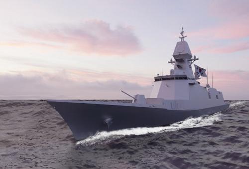 Đồ họa khinh hạm tàng hình FFX-3 của Hải quân Hàn Quốc. Ảnh: Yonhap.