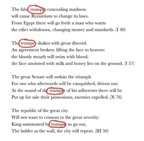 Trích những câu thơ của Nostradamus được cho tiên đoán về tỷ phú Trump. Ảnh: BuzzFeed.