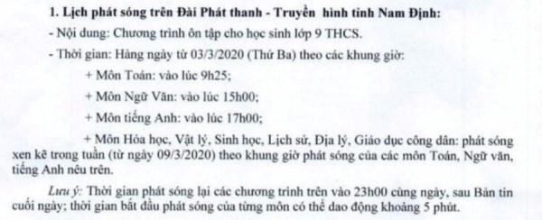 Lịch học trực tuyến tạị Nam Định.