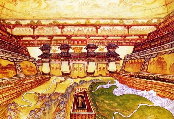 Một phần bên trong lăng chính của Tần Thủy Hoàng được vẽ lại. Ảnh: báo Dân Trí