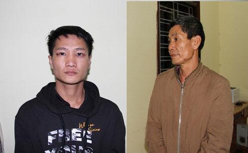 Mai Sinh Thanh (bên phải) và Mai Sinh Trường tại cơ quan công an (Ảnh: Phương Huyền).