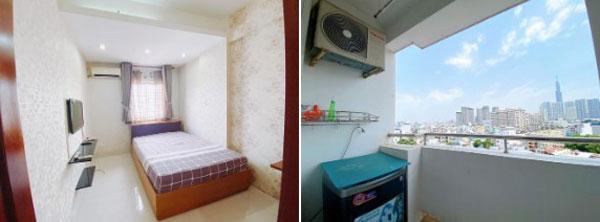 Không gian phòng ngủ và ban công của căn hộ.