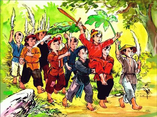 Tranh minh họa Đinh Bộ Lĩnh tập trận cờ bông lau với trẻ mục đồng. Ảnh cắt từ video.