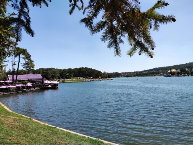 Mặt hồ Xuân Hương vắng lặng, không còn cảnh du khách đạp vịt, thiên nga ngược xuôi.