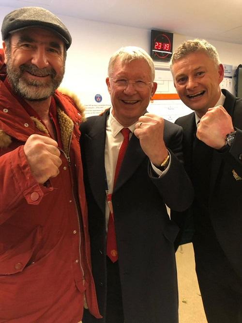 Cantona, Sir Alex Ferguson và HLV Solskjaer (từ trái sang).
