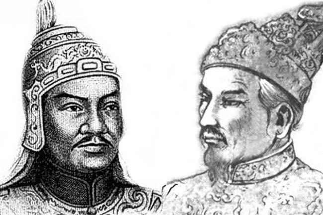 Nguyễn Huệ và Nguyễn Anh (phải) là anh em cột chèo.