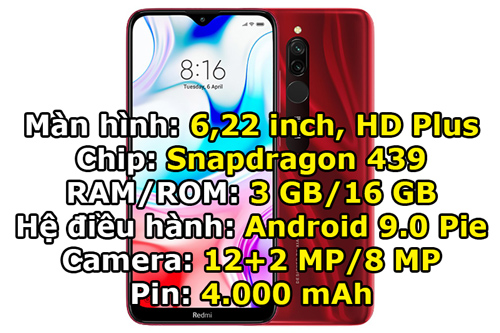 Xiaomi Redmi 8 RAM 3 GB/ROM 32 GB (2,99 triệu đồng).