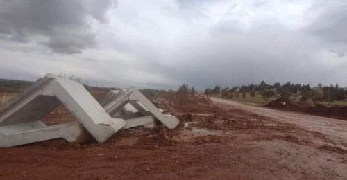 Công sự bê tông lắp ghép của Thổ Nhĩ Kỳ bị phiến quân phá hoại. Ảnh: Avia.pro.