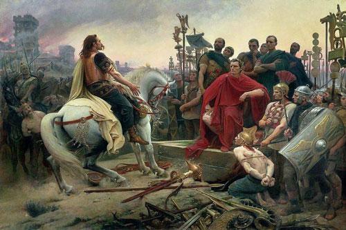 Tranh vẽ cảnhVercingetorix và Caesar đối mặt.Ảnh: Wikimedia Commons