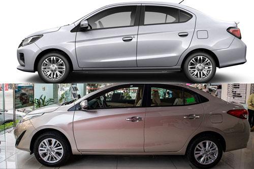Mitsubishi Attrage 2020 và Toyota Vios (dưới).