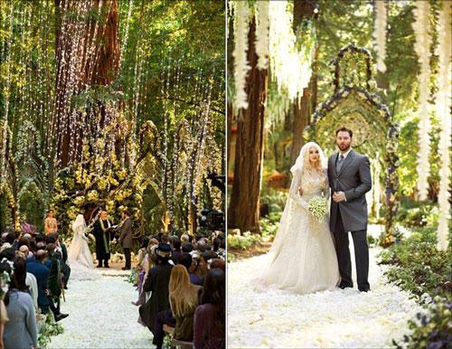 Sean Parker và vợ chi 10 triệu USD thuê địa điểm tổ chức tại khu rừng rậm hơn 500 tuổi ở Big Sur (Mỹ) và dựng lại giống bối cảnh bộ phim The Lord of The Rings. Tuy nhiên, hành vi phá hoại môi trường để dựng địa điểm tổ chức lễ cưới đã khiến họ vướng án phạt với số tiền lên tới 2,5 triệu USD. Ảnh: Pinterest.