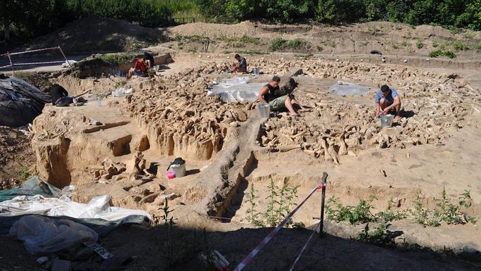 """Hiện trường khảo cổ, nơi kiến trúc bí ẩn xây bằng xương """"quái thú"""" kỷ băng hà đang được khai quật - Ảnh: Alex Pryor"""