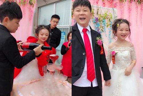 Đám cưới của cặp đôi tí hon gây chú ý trên mạng xã hội Trung Quốc.