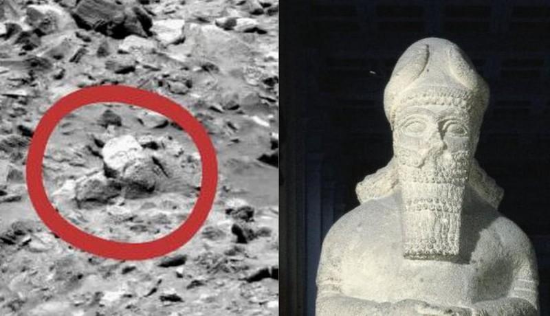 Hình ảnh do NASA chụp lại được so sánh với tượng thần cổ đại ở bảo tàng Anh.