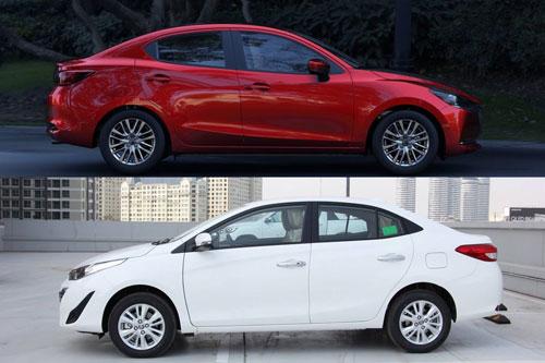 Mazda2 và Toyota Vios (dưới).