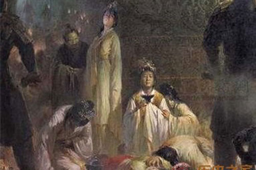 Hình mô tả việc cung nữ, phi tần tuẫn tiết theo vua chúa triều Minh