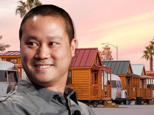 Tony Hsieh, CEO của hãng bán lẻ giày và quần áo trực tuyến Zappos hiện sống trong một ngôi nhà di động gần 23 m2 trong công viên xe kéo Llamapolis ở trung tâm Las Vegas. Công viên này do chính Hsieh tạo dựng vào năm 2014 như một phần trong nỗ lực hồi sinh thành phố. Ảnh: Business Insider.
