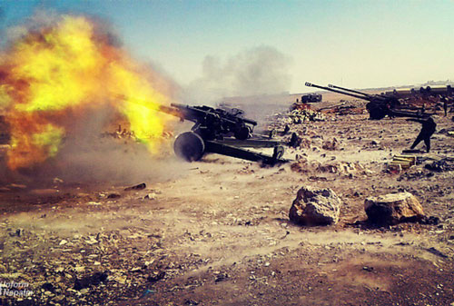 Một trận địa pháo 2A65 Msta-B của Nga ở Syria. Ảnh: InformNapalm.