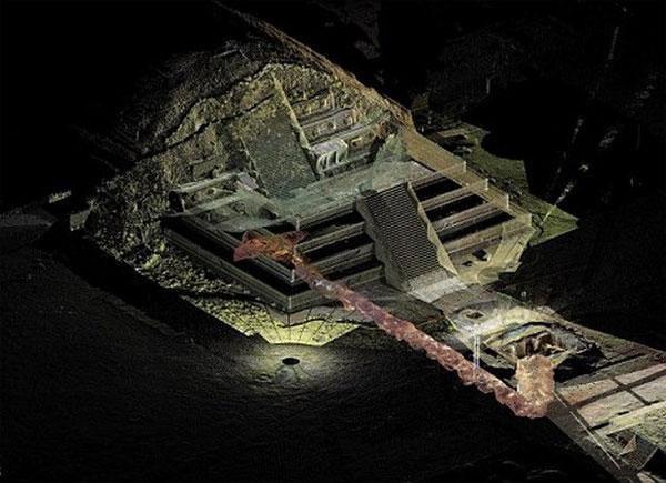 Đồ họa cho thấy con đường hầm có lẽ dẫn đến một ngôi mộ hoàng tộc ở Teotihuacan
