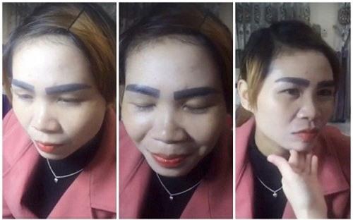 """Một cô gái Việt Nam đã sang tận Lào để """"trải nghiệm"""" mốt xăm lông mày mới nhất của nước này với hơn khoảng 500.000 đồng tiền Việt, lông mày làm từ """"nước ngoài"""" này sẽ khiến cô ân hận suốt đời."""
