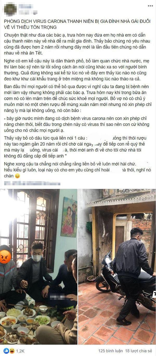 Câu chuyện được chia sẻ trên mạng xã hội.